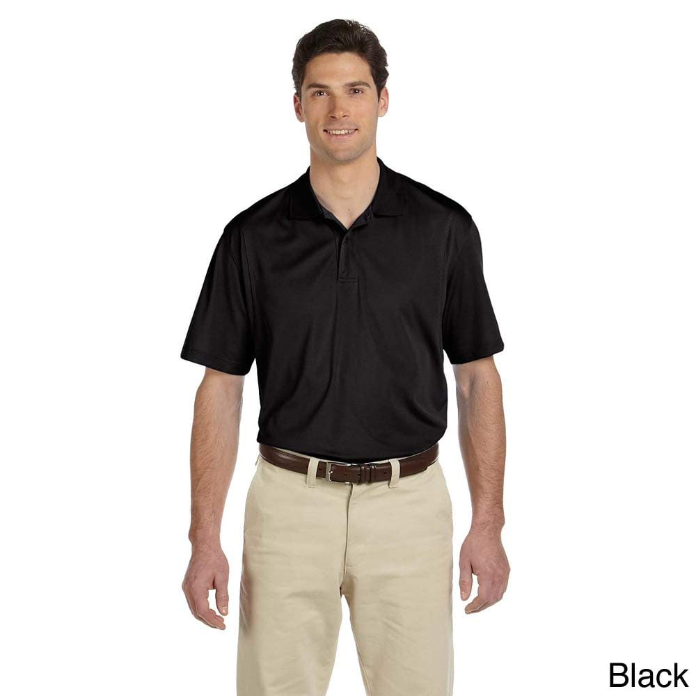 Harriton Mens Short-Sleeve Moisture-Wicking Micro-Pique Polo Charcoal XL