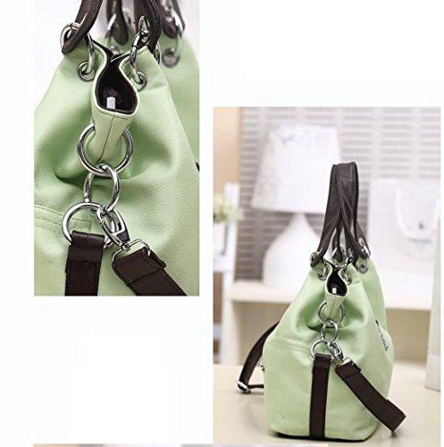 Tibes Mujeres Splicing Bolsos Bolsas de hombro simples Bolso elegante del monedero del totalizador Verde