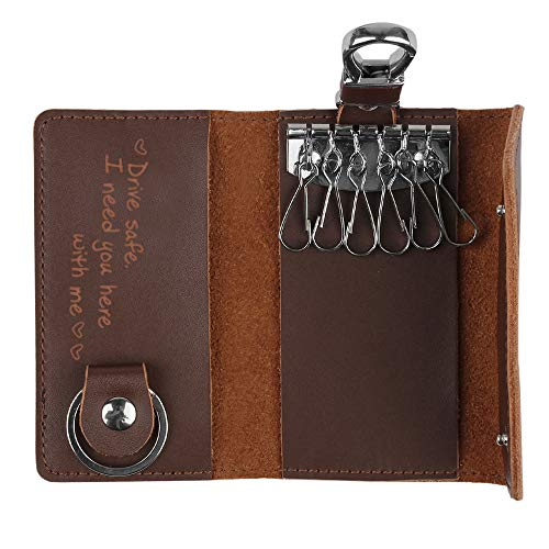 Personalized Engraved Leather Key Case with 6 Hooks,Perfect Gifts for Boyfriend Husband-Drive - Gift Enclosure Personalized