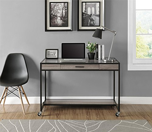 (Ameriwood Home Mason Ridge Mobile Desk with Metal Frame, Weathered Oak)