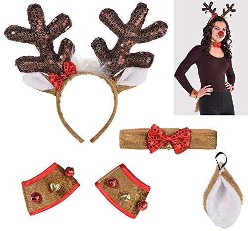 amscan Christmas Party Tailed Deer Headband Reindeer, Costume Holiday Fun, White