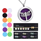 Aromatherapy Essential Oils & Diffuser Necklace Gift Set, Professional Therapeutic Grade for Stress