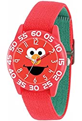 Sesame Street Elmo Kids Acrylic Case Red Stretch Strap Time Teacher Watch