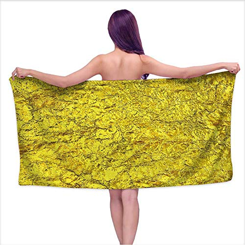 Leigh home Microfiber Beach Towels, Luxury Golden Texture Hi res Background,Quick Dry Super Absorbent Lightweight Towel for Swimmers W 27.5