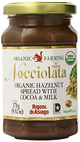 Rigoni Di Asiago Nocciolata Organic Hazelnut Spread, Cocoa and Milk, 9.52 Ounce Jar