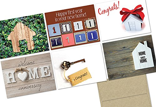 (72 Note Cards - Home Sweet Home - 6 Designs - Kraft Envelopes Included)