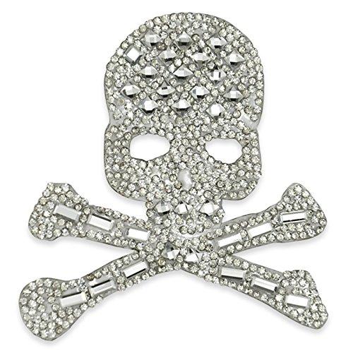 3in x 3in Iron On Rhinestone Skull and Bones Applique - Bone Applique