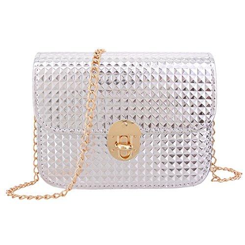 (Candice Women's New Design Crossbody Mini Chain Shoulder Bag Handbag Shopping Bag Purse Coat of Paint for Girls(Silver))