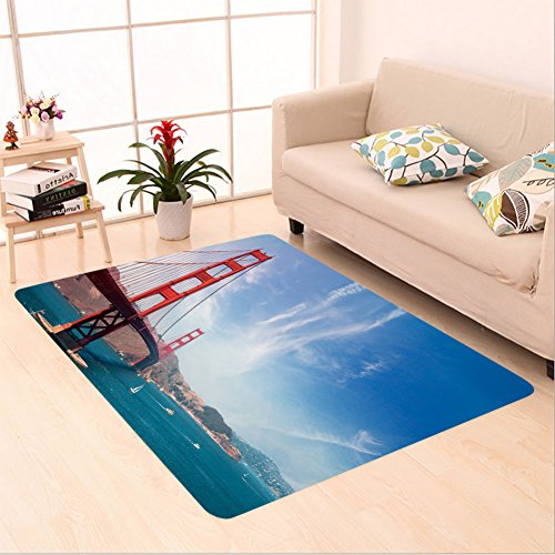 Sophiehome skid Slip rubber back antibacterial  Area Rug Golden Gate Bridge San Francisco_514642440 Home Decorative Golden Gate Deluxe Wood
