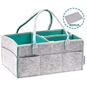 TAGbebe Baby Diaper Caddy – Portable Nursery Storage Organizer for Babies – Car Travel Bag for Diaper & Baby Wipes & Toys – Newborn Registry Must Haves for Boys and Girls - Blue