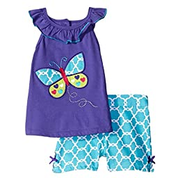 Meeyou Little Girls\' Lovely Tank top & Essential Shorts Set(Colorful Butterfly, 7T)