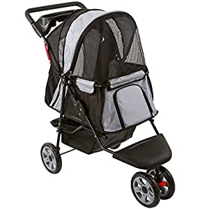 Black and Silver Zephyr 3-Wheel Pet Jogging Stroller