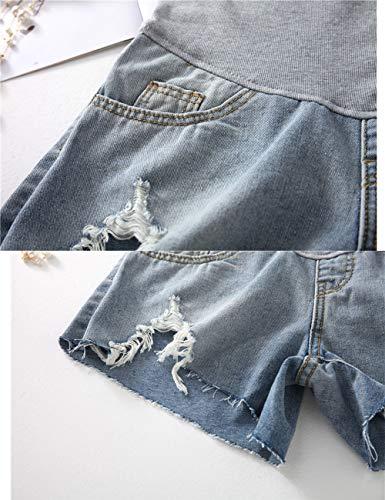 Estate Vita A Blue Regolabile Donna Pantaloni Cintura Jeans Magro Comodo Premaman Irregolare Zhuhaitf Pantaloncini Alta Supporto di Orlo Casuale Pancia wtqYIt1