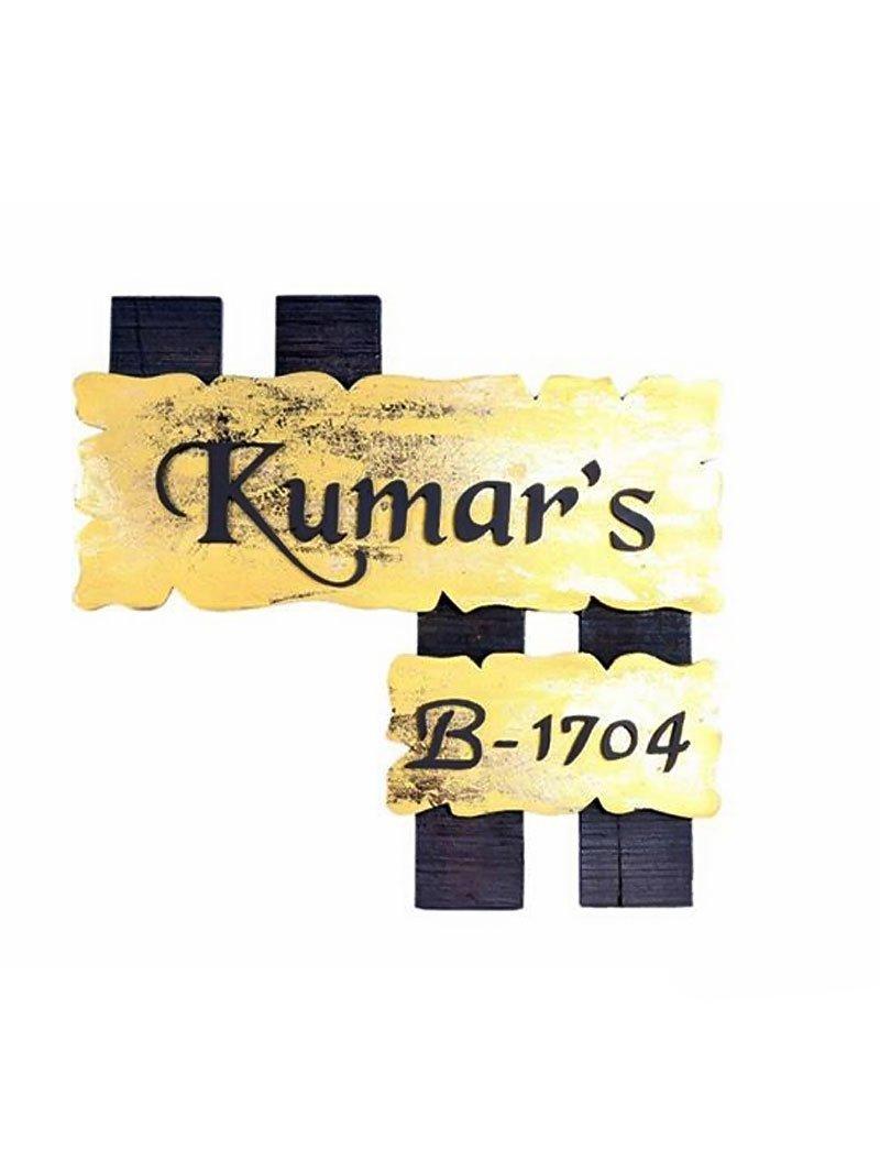 Karigaari India Wooden Kumar's Name Plate