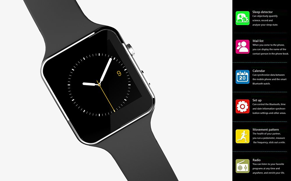 Amazon.com: SZDLDT Excellent Bluetooth montre connecter android SIM reloj inteligente smart watch Gorgeous Bluetooth smartwatch (Black): Cell Phones & ...
