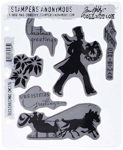 Stampers Anonymous Tim Holtz Cling Rubber Stamp Set, 7-Inch by 8.5-Inch, Deco Christmas ()