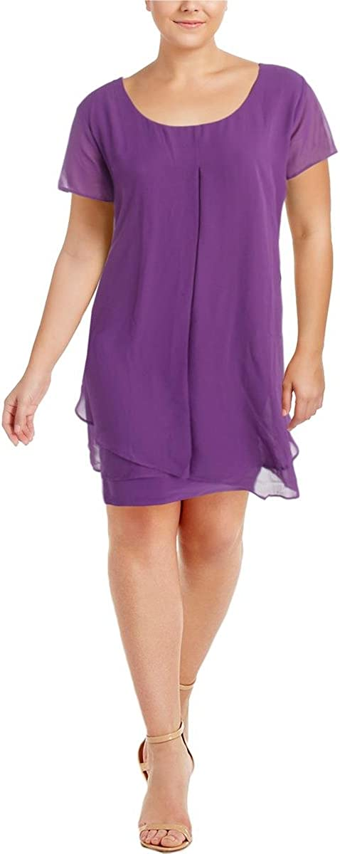 NY Collection Women's Plus Size Solid Cap Sleeve Layed Sharkbite Hem Layered Dress