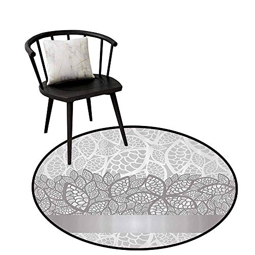 Absorbent Round Rug Grey for Bedroom Lace Inspired Flower Motifs Bridal Composition Stylized Leaves Wedding Theme Gray Pale Grey White D47(120cm)