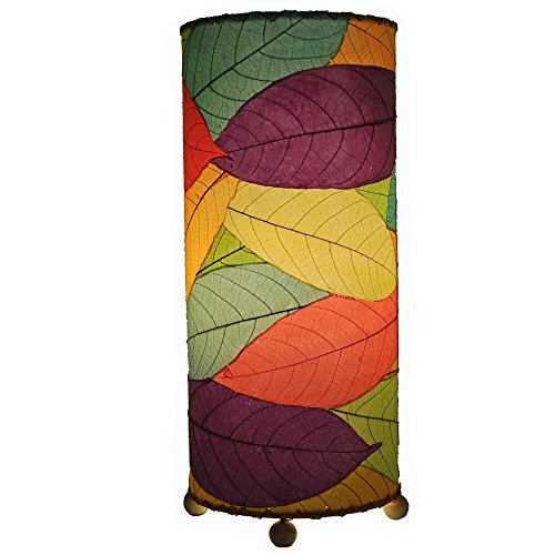 Leaves Cylinder Outdoor Table Lamp - 7 inches wide x 7 inches deep x 17 inches high (multicolor) (Cocoa Table Lamp)