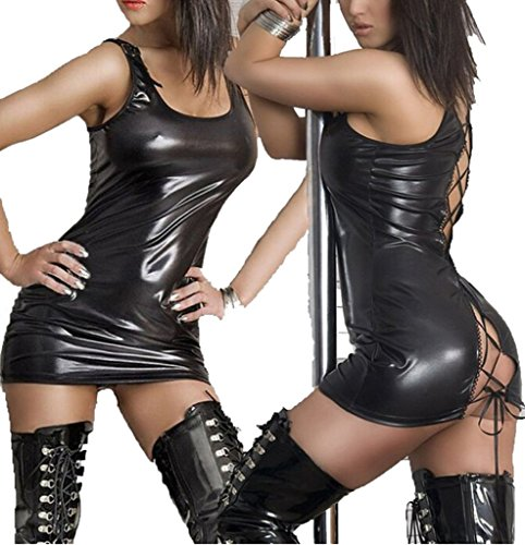 Leather Fancy Dress (QinYing Wet Look PVC Leather Black Lace up Fancy Mini Dress, One Size)