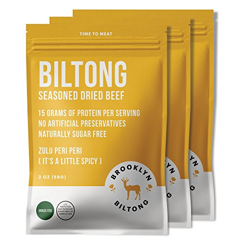 Brooklyn Biltong - Air Dried Grass Fed Beef Snack, South African Beef Jerky - Whole30 Approved, Paleo, Keto, Gluten Free, Sugar Free, Made in USA - 2 oz. Bags, 3 Count (Peri Peri)