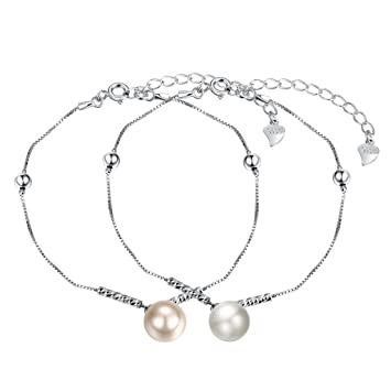 HMILYDYK Women Charm Bracelet Sterling Silver Four Line White Freshwater Cultured Shell Pearls - AAA Quality wF7qh