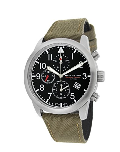 Momentum Men's 'Chronograph Collection' Quartz Stainless Steel and Canvas Casual Watch, Color:Green (Model: 1M-SN34BS6G)