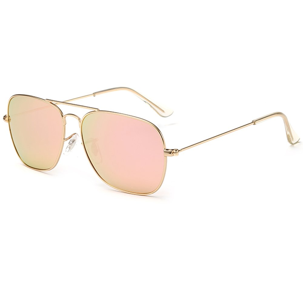 EliBella Polarized Retro Women and Men UV400 protection Sunglasses EL3136 (Gold Frame | Pink Lens, 55)