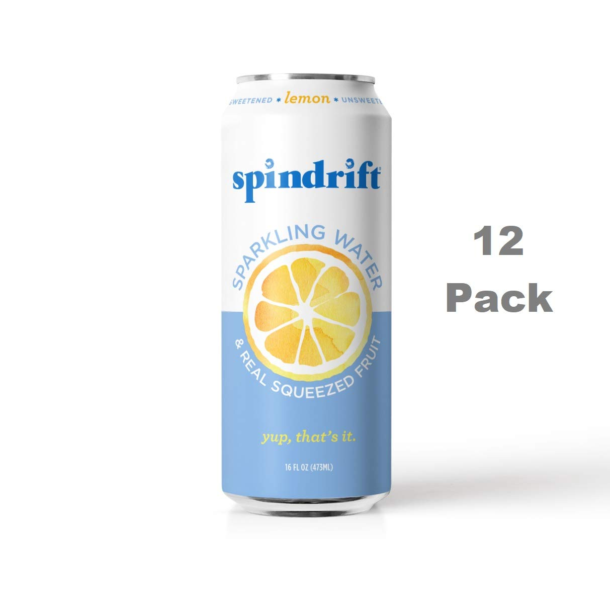 Spindrift Sparkling Water, Lemon Flavored, Made with Real Squeezed Fruit, 16 Fluid Ounce Cans, Pack of 12 (Only 4 Calories per Seltzer Water Can)