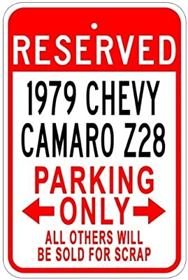Metal Signs 1979 79 Chevy Camaro Z28 Aluminum Parking Sign - 12 X 18 Inches