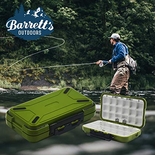 Barretts Outdoors Small Tackle Box for Fly Fishing with 30 Adjustable Removable Tackle Box Organizer Waterproof Compartments. Great for Jewelry & Medicine Storage (OD Green)