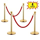 LAZYMOON 4 PCs Stanchion Posts Set Queue Line Safety Barrier with Red Velvet Ropes, Silver