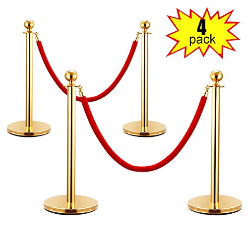JAXPETY Round Top Polished Brass Stanchion Posts Queue Barrier, Pack of 4 Posts with Red Velvet Ropes,GOLD