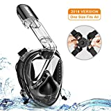 Samofik Full Face Snorkel Mask 【Upgrade Version】 Universal Size Snorkeling Mask No Leaking UV Protection Anti-Fog Wide View with Ear Plugs Camera Mount Travel Bag for Adults and Kids