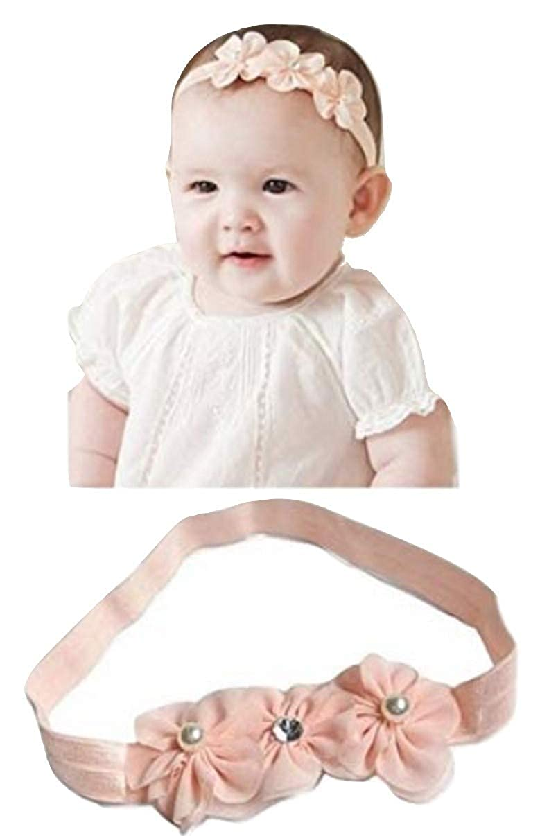 PICCOLI MONELLI Fascia neonata capelli battesimo bambina con fiocchetti a fiore e strass elegante battesimale colore rosa