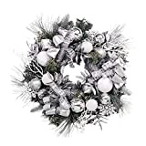 Valery Madelyn Pre-Lit 24'' Frozen Winter Silver and White Christmas Wreath with Ball Ornaments, Ribbon and Snowflakes, Battery Operated 20 LED Lights