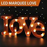 Bright Zeal 7'' Tall Large LED LOVE Marquee Sign Letters (BRONZE, 6hr Timer) - LOVE Light Up Sign Battery Wedding Signs - Decorative Signs LOVE Decor Bedroom - Valentine Decorations Party