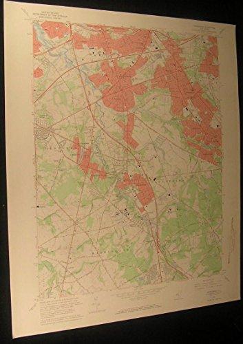 Runnemede New Jersey Blackwood Terrace 1969 vintage USGS original Topo chart map