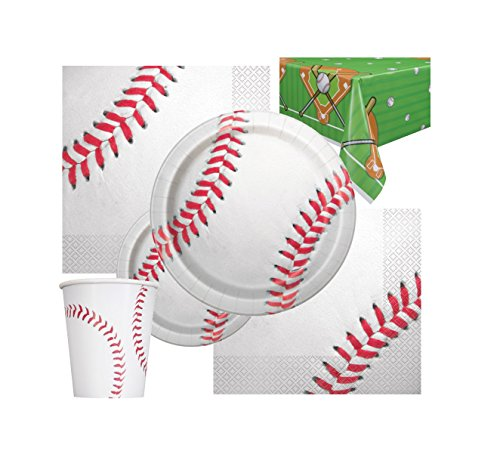 Baseball Themed Birthday Deluxe Party Pack Serves 16 Plates Cups Napkins & Tablecloth (Baseball Party Supplies)