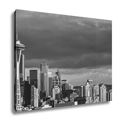 Ashley Canvas Skyline Of Seattle Downtown In Sunset, Home Office, Ready to Hang, Black/White 20x25, AG6540724 (Reflections Skyline Sunset Seattle)