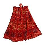 Yoga Trendz Indian Bohemian Elephant Ethnic Print Wrap Around Hippie Gypsy Mid-Length Skirt (Red 2)