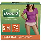 Depend FIT-FLEX Incontinence Underwear for Women, Disposable, Moderate Absorbency, S/M, Blush, 76 Count