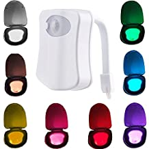 Candora™ Motion Detection Sensor Automatic Toliet LED Nightlight, Toilet Bowl Lid Bathroom Seat Hanging Battery- Operated Nightlight Lamp 8 Colors Changing.(Only Activates in Darkness)