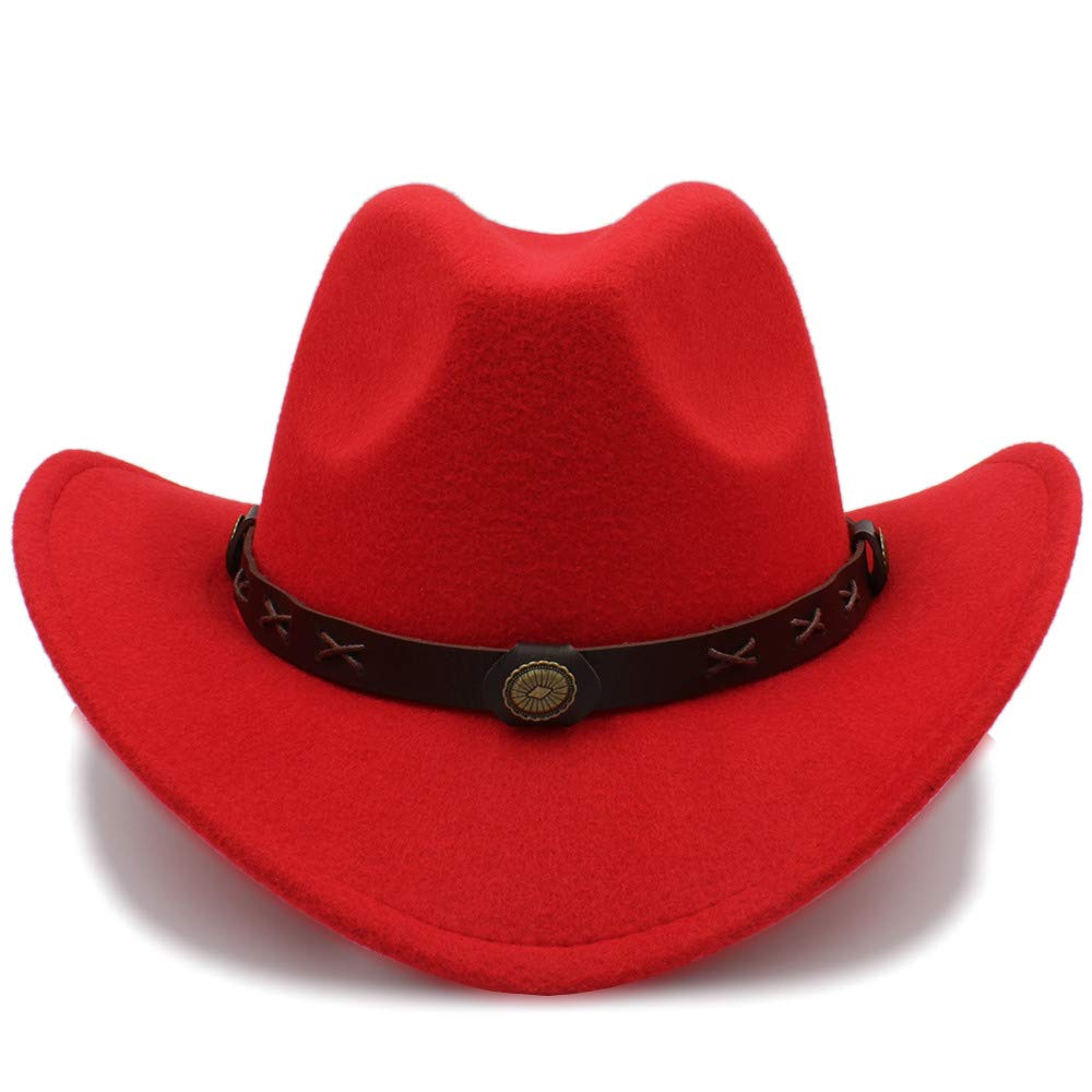 SSLA 2018 Women Men Western Wool Western Cowboy Hat Wide Brim Cowgirl Cap Flower Charms Leather Band Size 56-58CM Size : 56-58cm)
