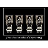 Wilson Irish Coat of Arms Pint Glass Set of 4- Free Personalized Engraving, Family Crest, Pub Glass, Beer Glass, Custom Beer Glass