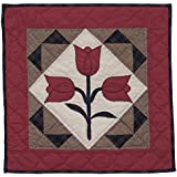Tulip Wall Hanging Quilt 18 Inches by 18 Inches 100% Cotton Handmade Hand Quilted Heirloom Quality