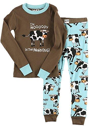 Moody Cow Blue Kids Long Sleeve Pajama Sets by LazyOne   Fun Soft Animal Pajamas -