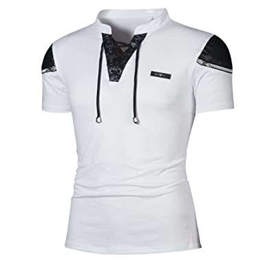 DEELIN La Mode de la Mode Estivale Design New Men Casual Slim Patchwork V- Neck 25b980e70157