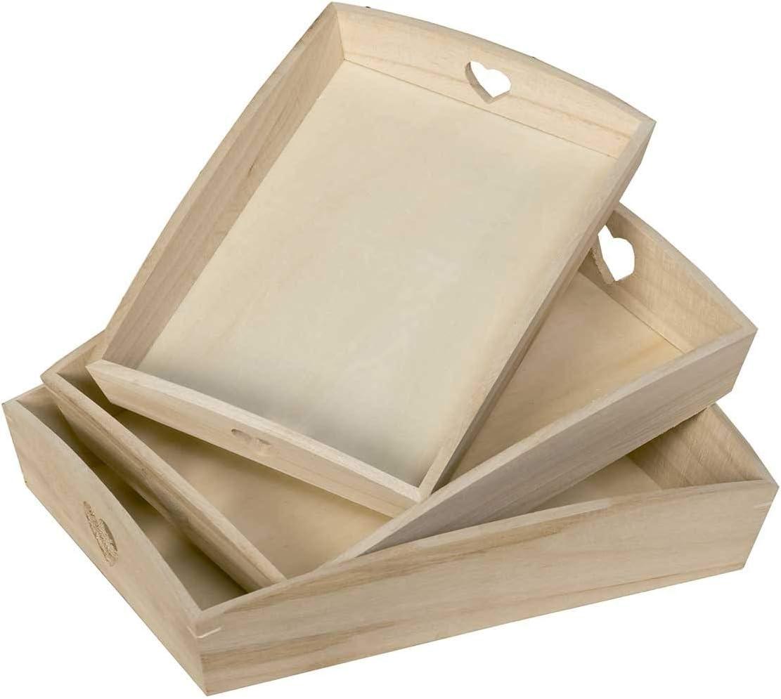 Artemio VIPBC - Juego de 3 bandejas rectangulares con Corazones calados, Madera, Color Beige, 35 x 6,5 x 27 cm