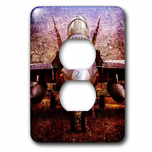 3dRose Alexis Photography - Transport Air - Stylized image of a modern fighter plane on the ground - Light Switch Covers - 2 plug outlet cover (lsp_267358_6) by 3dRose (Image #1)